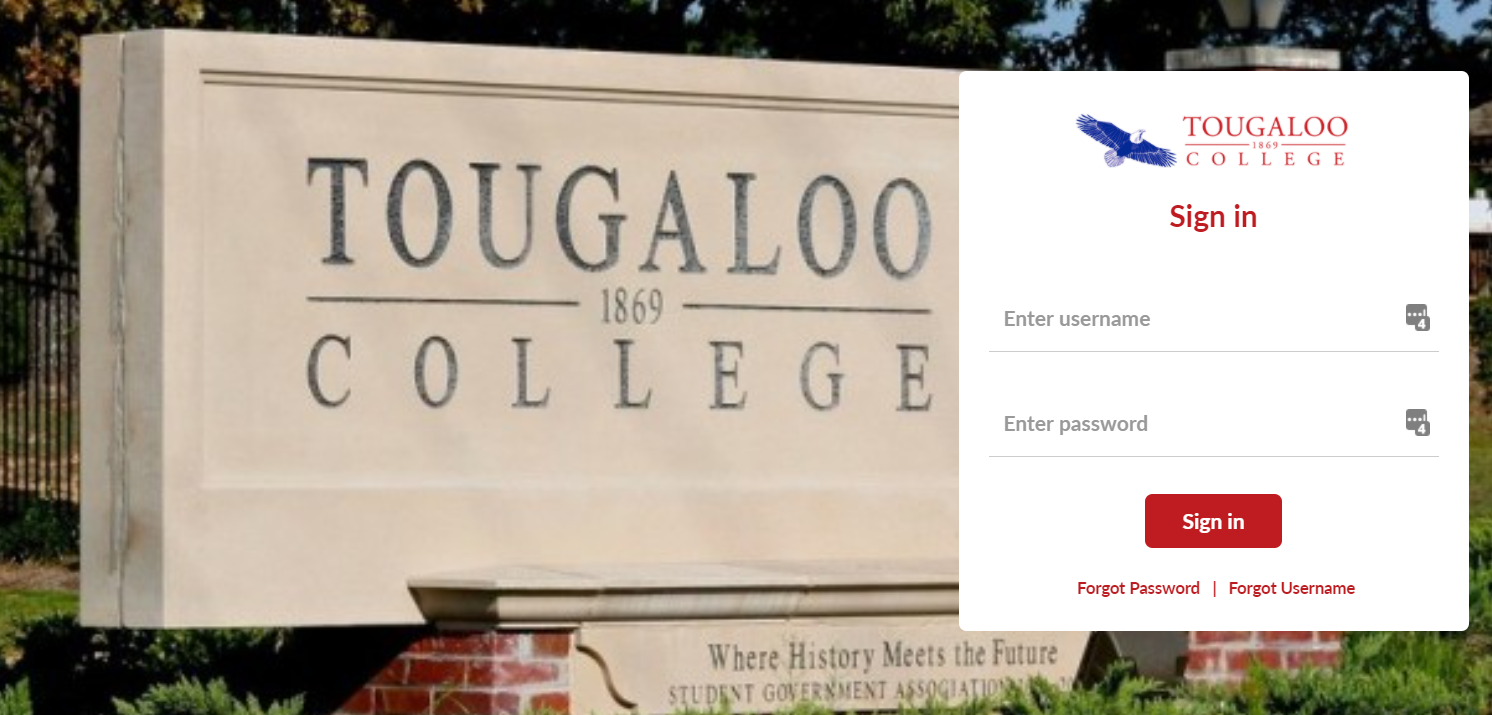 MyTougaloo Login Screen
