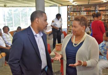 President Carmen J. Walters meets Tougaloo faculty and staff during Pastries with the President.