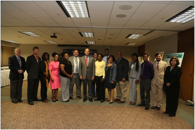 Tougaloo College faculty and student researchers with Congressman Thompson, Secretary Johnson and researchers from partner institutions.